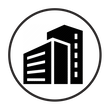 Black Commercial Building Icon